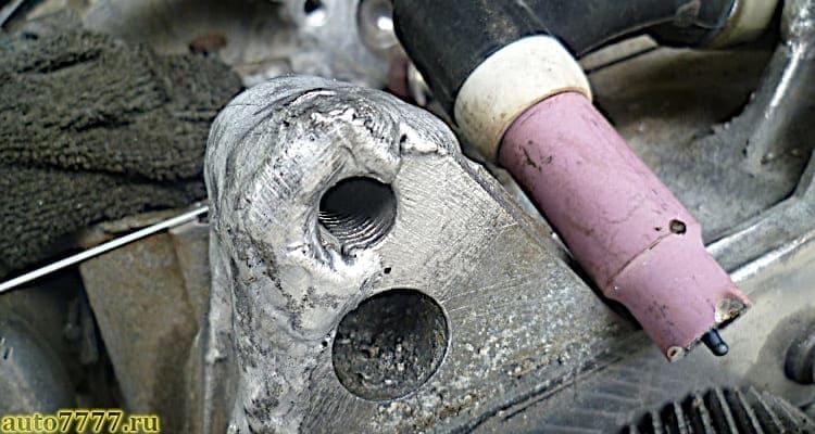 Сварка и наплавка сломанного уха МКПП